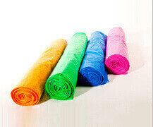 rolls of different coloured polythene sheeting