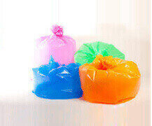 Coloured waste sacks