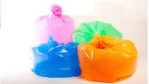 Coloured plastic polythene bags
