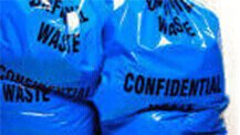 Confidential waste bags in blue