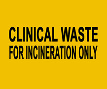 yellow Clinical waste bags